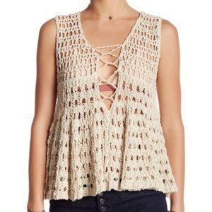 Free People • Crochet Knit Boho Tank Top    XS